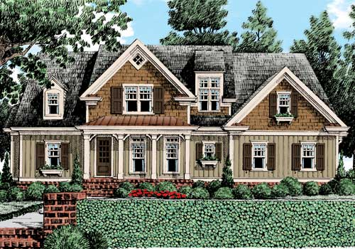 Craftsman cottage home plans floor plans for Riverfront home designs
