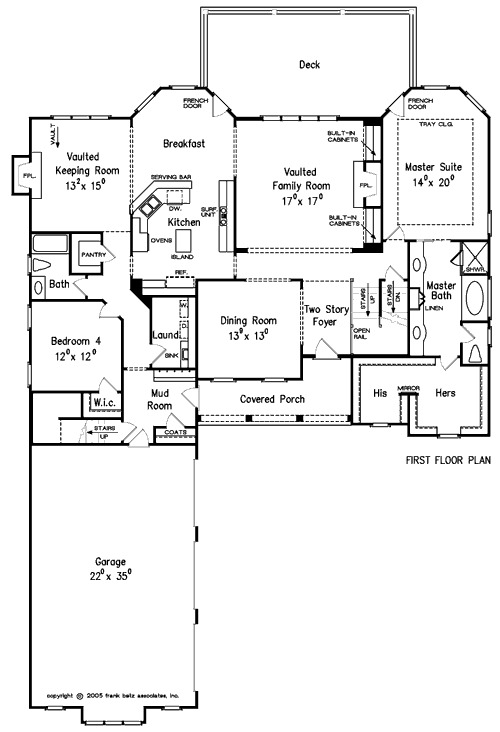 Floorplan level 1 for Transitional house plans